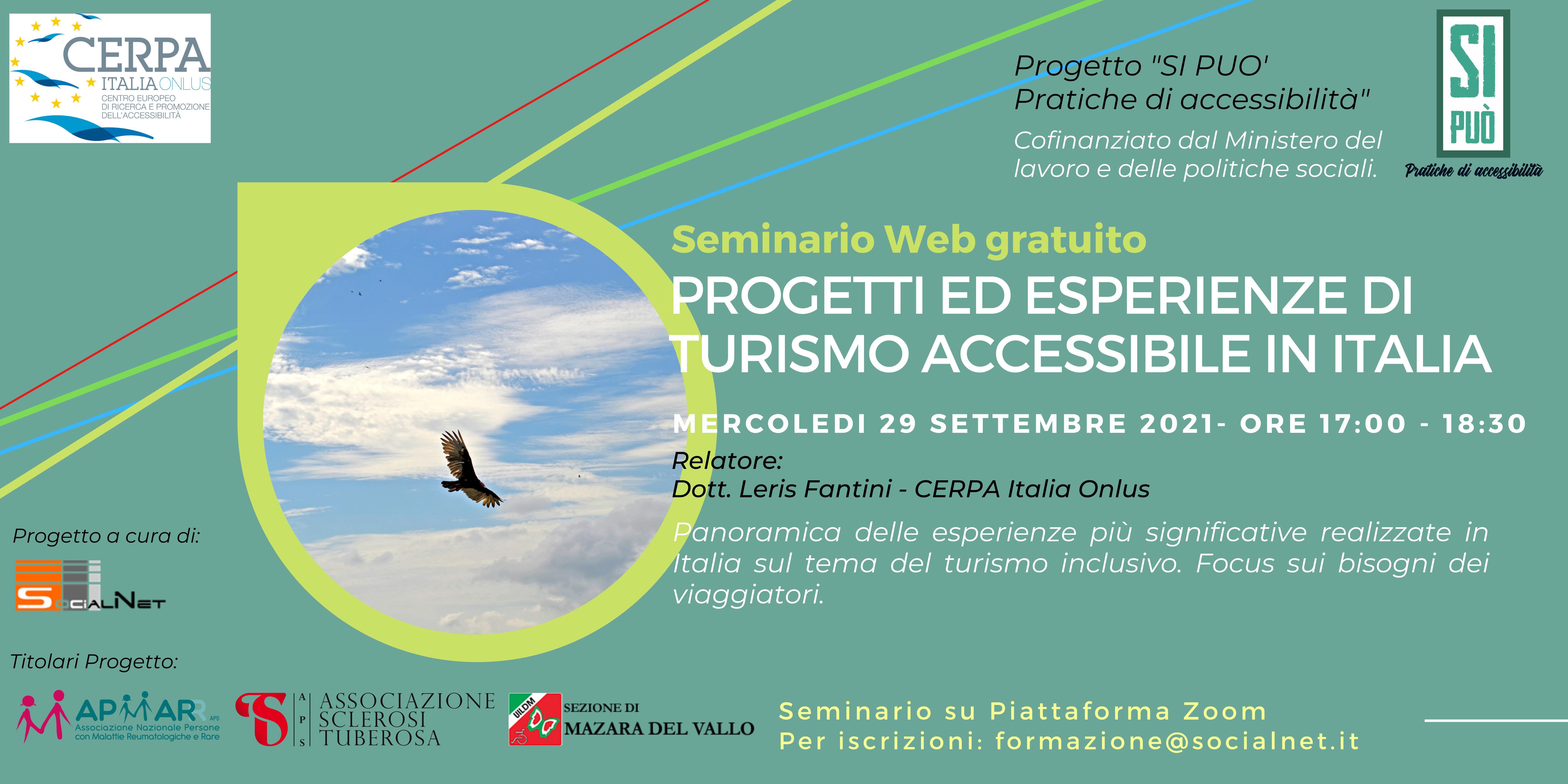 """Webinar """"Turismo accessibile in Italia"""" 29.09.2021"""